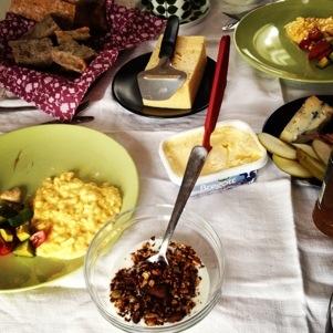 Müsli, äggröra, päron...